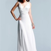 v-neck Column open back white Long with Sequins Prom Dress PD0934