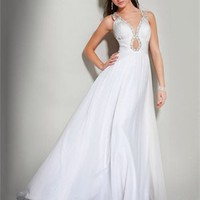 v-neck A-Line white Long with Sequins Prom Dress PD0967