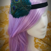 Turquoise Peacock Feather Headband / Great Gatsby / Art Deco / 1920s flapper / Peacock wedding / hair fascinator / feather accessory