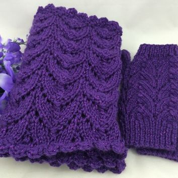Infinity Scarf Fingerless Glove Set Purple Sparkle Caron Simply Party
