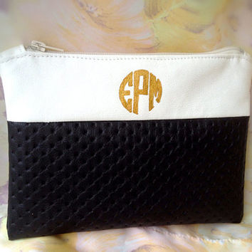 Personalized Circle Monogram Faux Leather Black White Clutch Purse