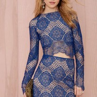 For Love And Lemons Midnight Lace Skirt - Sapphire