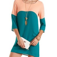 Color Block Chiffon Shift Dress by Charlotte Russe - Dark Teal Combo