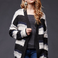 House of Harlow Mixed Stitch Cardigan Sweater - Womens Sweater - Black - One