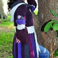 Purple and Grey Pixie style Gypsy Sweater Coat