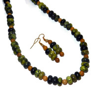 Green and Yellow Marbled Necklace and Earring Set with Tan Beads