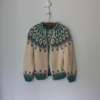 Vintage Nordic Sweater ... 1970&#x27;s Cream Icelandic Yoke Cardigan ... Small / Medium