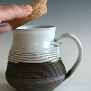 Coffee Mug with Cork Lid, handthrown ceramic stoneware pottery mug, unique coffee mug