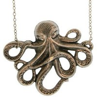 Amazon.com: Octopus Necklace In Burnished Silver: Cora Hysinger: Jewelry