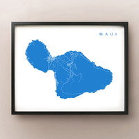Maui Map Print - Hawaii Art Poster