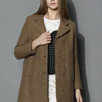 Chestnut Double-breasted Wool Coat