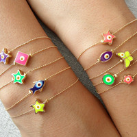 Neon evil eye bracelets, neon bracelets, neon jewelry, evil eye bracelets, evil eye jewelry, best friend birthday, gifts for women