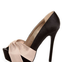 Qupid Miriam 70 Black Matte Satin Knotty Bow Platform Pumps - $34.00