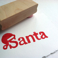 CHRISTMAS STAMP - Santa name with hat - Hand carved