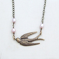 Bird and Pearl Necklace Bird Necklace Cottage Chic Pink Pearl Necklace Antique Brass Autumn Woodland - Monique