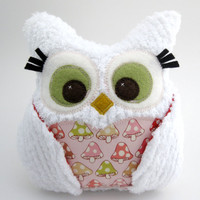 Plush Owl Pillow - white chenille - mushroom fabric and red polka dots