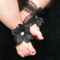 Barefoot Baby Sandals - Infant Sandals - Black Baby Sandals - Bottomless Sandals - Baby Girl Sandals - Newborn Sandals - Baby Shoes