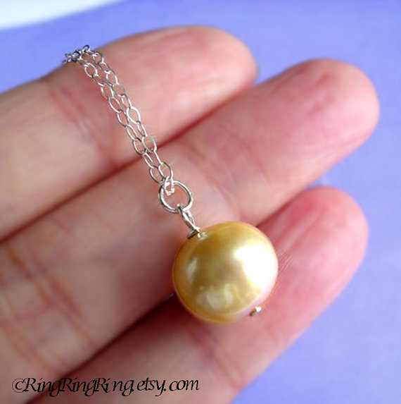 Extra Large Baroque Gold Genuine Pearl on 925 Sterling silver necklace.