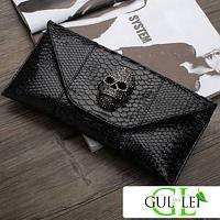 Crocodile Skull Pattern Envelope Clutch Handbag