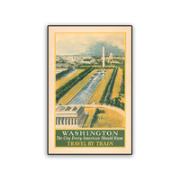 Vintage Travel Poster Reprint Washington DC 8x12 PopMount Ready to Hang FREE SHIPPING