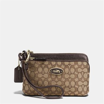 COACH Double Zip Wristlet in Signature Jacquard at Von Maur