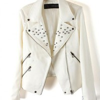 Cotton White Long Sleeve Rivet Big Lapel Full Zip Jacket ( color) style 819py003-White in  Indressme