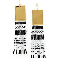 ideeli | nOir Seed Bead Block Fringe Earrings