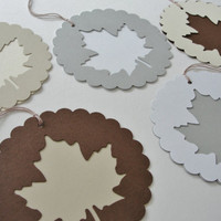 Autumn Fall Scalloped Round Paper Leaf Gift Tags ,Round Paper Leaf Cut Outs, Large Fall Birthday Shower Wedding Wishes Gift Tags, Set of 50