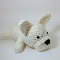 SALE / French Bulldog Stuffed Animal Amigurumi Dog Crochet Dog Large Size / Made to Order