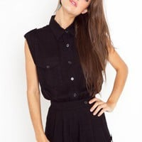 Stella Safari Romper - Black - NASTY GAL