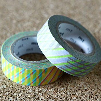 Stripe Check - Japanese Washi Paper Masking Tape -  2 Rolls Set - mt Deco 2 Pack, Red & Green, Scrapbooking, Collage, Gift Wrapping, Sticker