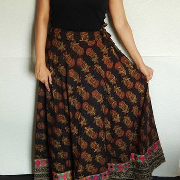 Maxi Skirt, Indian Skirt, Gypsy Skirt, Embroidered Skirt, Black Skirt