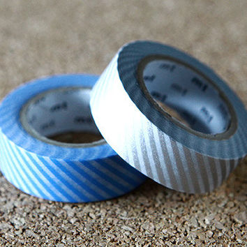 Stripe, Japanese Washi Paper Masking Tape, light Blue & Silver, 2 Rolls Set, mt Deco, Scrapbooking, Collage, Wrapping, Decor Art Sticker