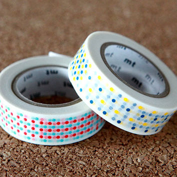 Marble Dot Red & Yellow Tape,  Japanese Washi Paper Masking Tape, 2 Rolls Set, mt Deco, Scrapbooking, Collage, Wrapping, Decor Art Sticker