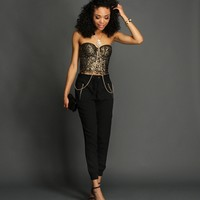 Gold And Black Shimmery Crochet Corset