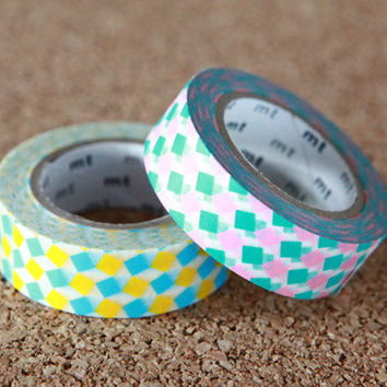 Square Pink & Yellow, Japanese Washi Paper Masking Tape, 2 Pack Set, mt Deco, Scrapbooking, Colorful Collage, Wrapping, Decor Art Sticker