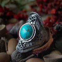 beautiful adjustable big Tibetan silver ring with turqouise