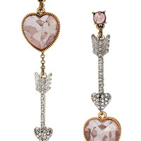 BEADED HEART AND ARROW MISMATCH EARRING PINK PINK