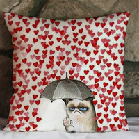 grumpy cats heart Love pillow case 16 x16,18 x 18,20x 20 one side or two side