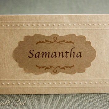 Rustic place cards. Tented wedding escort cards. Brown kraft paper.