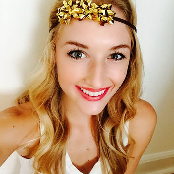 Gold Christmas Crown Holiday Flower Headband Tacky Sweater Party Accessory Holiday Halo Metallic Flower Crown Bow Headband Christmas Party