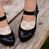 Lace socks, lacey socks for heels and flats white lace and black lace available