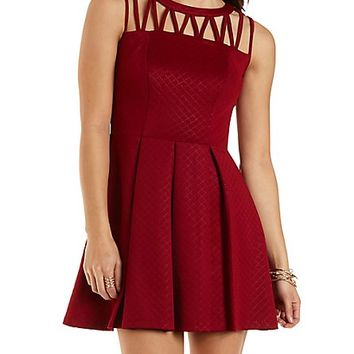 Pleated Strappy Skater Dress by Charlotte Russe  Wine