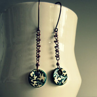 Abstract Ceramic Earrings - Copper Chain - Teal Clay Disk