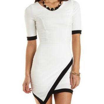 Asymmetrical Bodycon Dress with Trim by Charlotte Russe  White