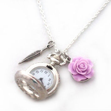 Purple and Silver Pocket Watch Necklace, mauve flower, feather charm, Steampunk, Victorian Jewelry