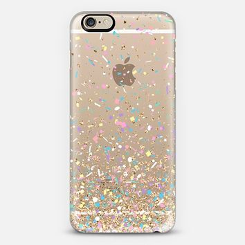 Gold Multicolor Pastel Confetti Transparent iPhone 6 case by Organic Saturation | Casetify