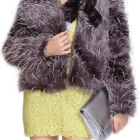Stunning Style Fur Color Block Coat For Women