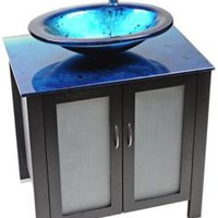 Waterhouse Ocean Blue Glass Contemporary Vanity | LampsPlus.com