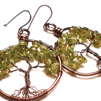 Peridot Tree of Life Earrings in Earth Toned Copper Wire